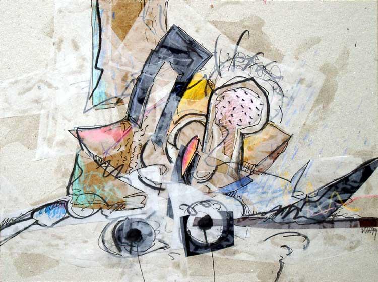 """""""Radio-Days"""", Mischtechnik auf Pappe, 29,6 x 39,6 cm, 1999 (Privatbesitz, Kirchzarten)"""